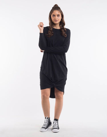 Silent Theory Long Sleeve Twisted Tee Dress in Black
