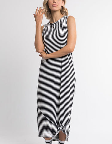 Silent Theory Twisted Maxi Tank Dress - Black/White Stripe