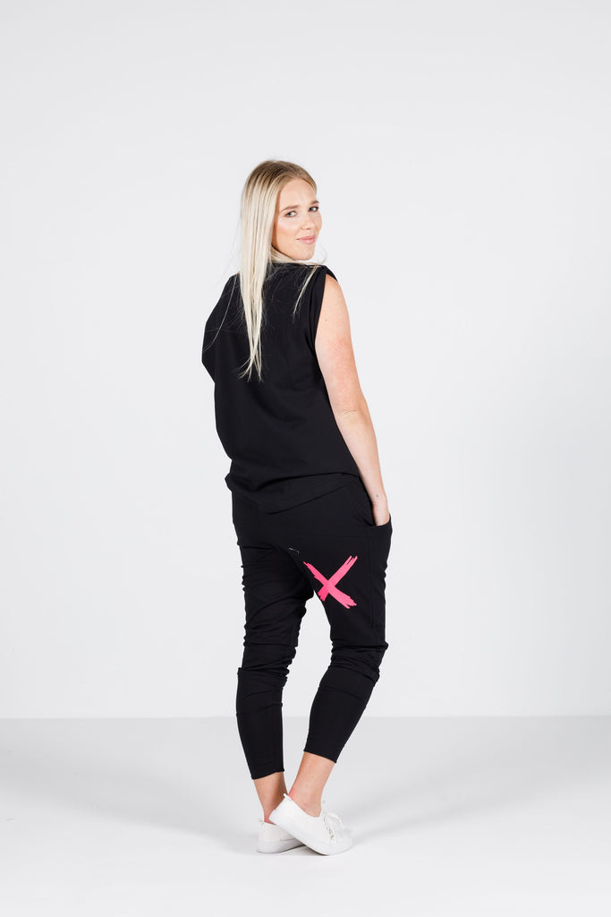 Home-Lee Apartment Pants - Black with Pink X
