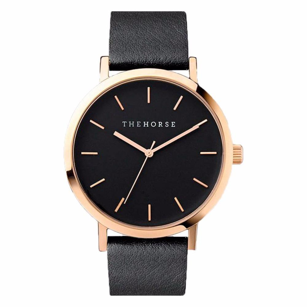 The Horse Watch - Polished Rose Gold/Black Face/Black Leather