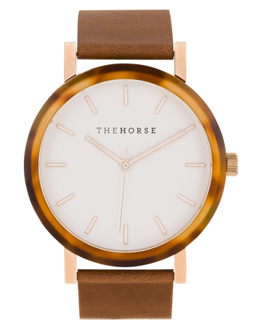 The Horse Watch - Tortoise Shell (Tan Band/White Face)