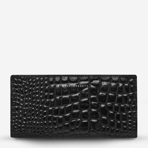 Status Anxiety In the Beginning Wallet -Black Croc Emboss