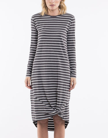Silent Theory Long Sleeve Twisted Maxi Dress - Charcoal/White Stripe