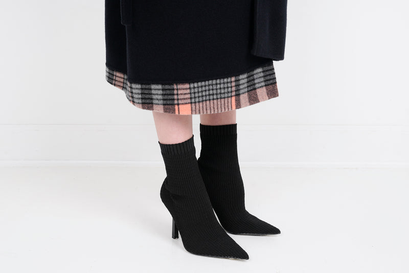 Cashmere coat with plaid detail - Black