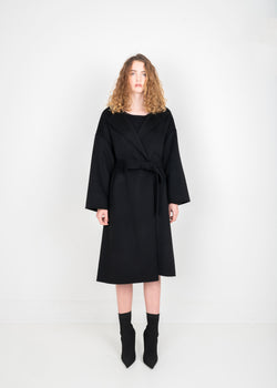 Stitched Wrap Coat - Black