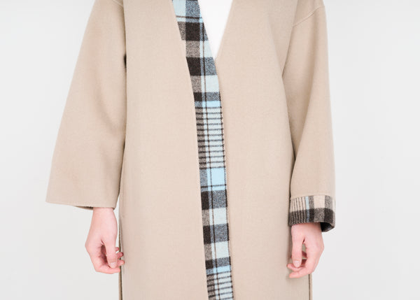 Cashmere coat with plaid detail - Beige