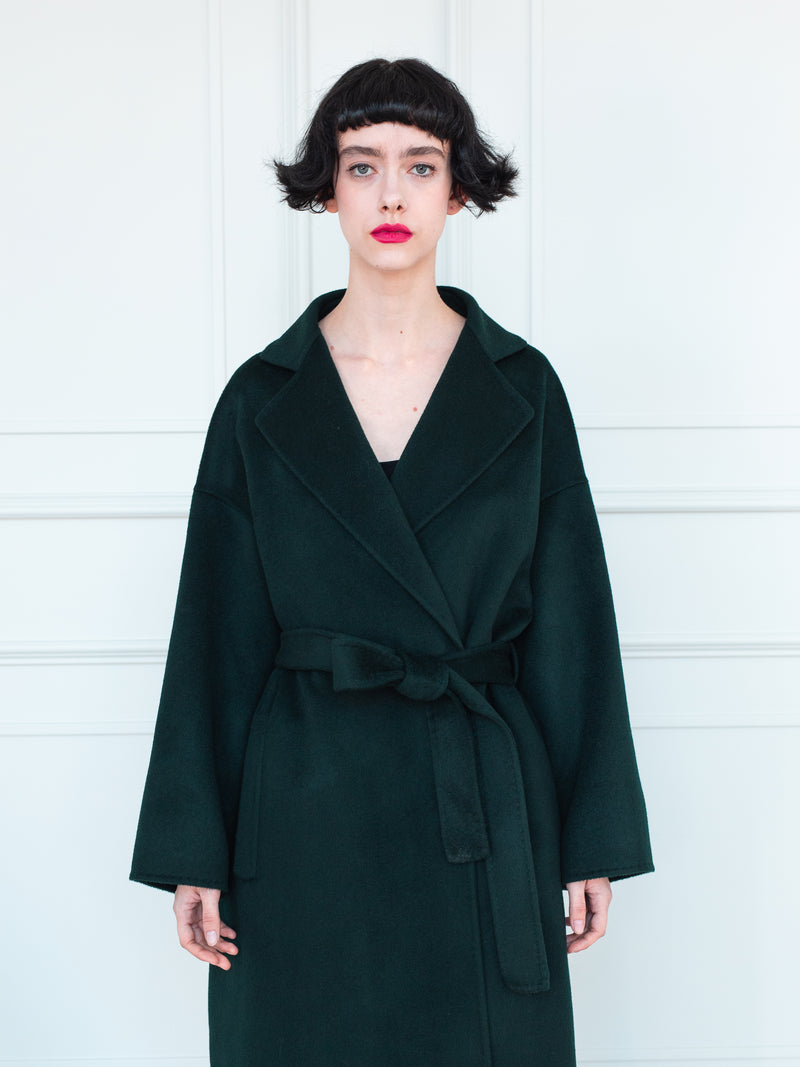 Stitched Wrap Coat - DEEP FOREST