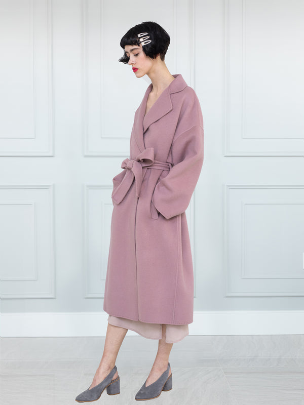 Loose Fit Cashmere Coat - Pale Rose