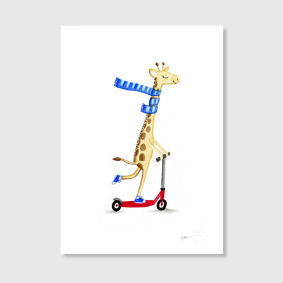 Giraffe in scarf Art Print