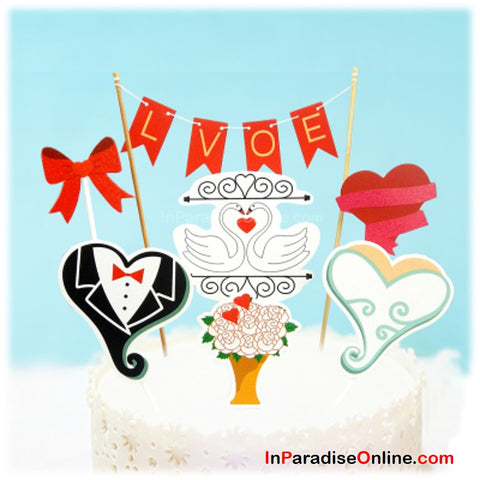 """Love"" Wedding Bunting Cake Topper"