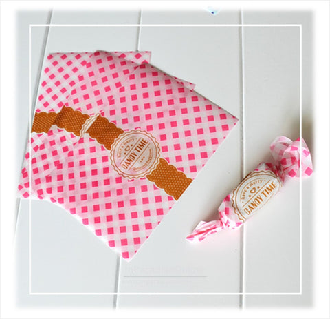 Pink Checkered Nougats Wax Paper Wrapper