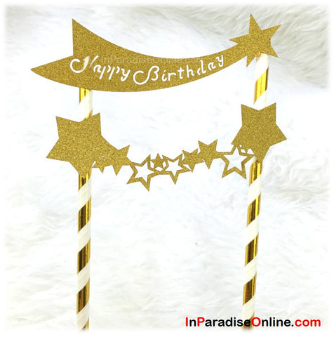 """Happy Star"" Gold Glitter Cake Topper"
