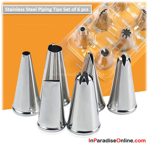 Stainless Steel Piping Tips Set of 6pcs