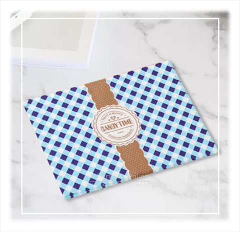 Blue Checkered Nougats Wax Paper Wrapper