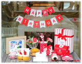 Happy Birthday Bunting Red & White