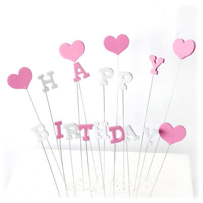 Pink Happy Birthday And Heart Cake Topper
