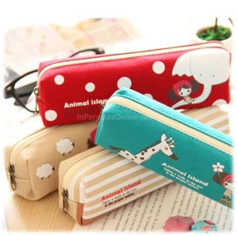 Canvas Cute Kawaii Cartoon Stationery Pouch