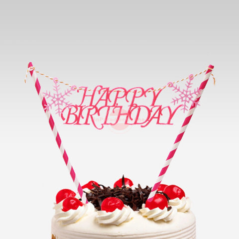 "Snow ""Happy Birthday"" Bunting Cake Topper"