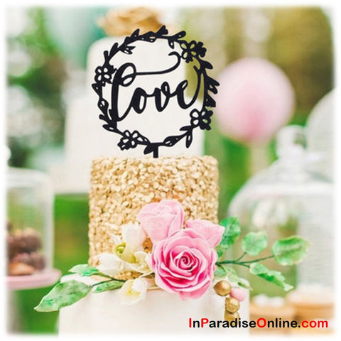 "Black ""LOVE"" Glitter Cake Topper"