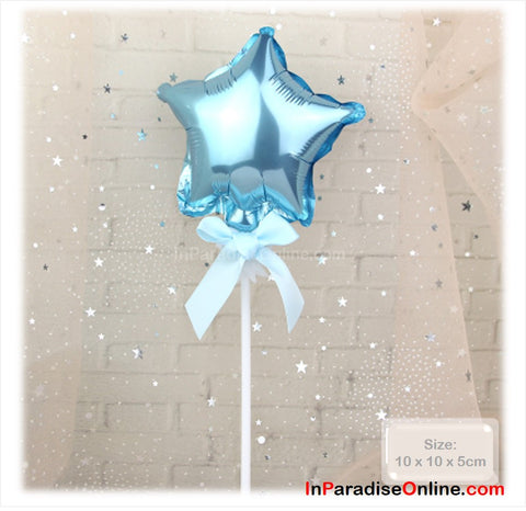 Light Blue Star Shaped Foil Balloon Cake Topper
