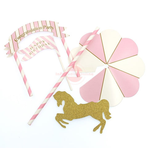 "Cute ""Unicorn Pink & Sky Blue"" Bunting Cake Topper"