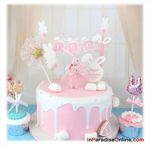 Baby Girl Bunny Bunting Cake Topper Set