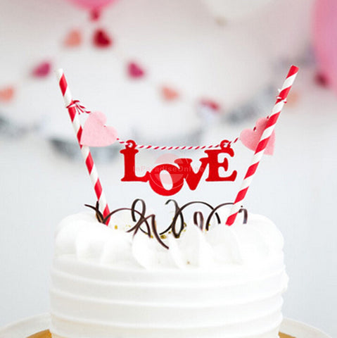 "Sweet ""LOVE"" Bunting Cake Topper"
