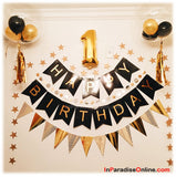 Happy Birthday Bunting Black & Gold