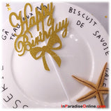 Ribbon Glossy 'Happy Birthday' Gold Glitter Cake Topper