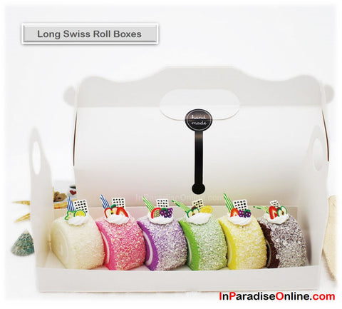 Elegant Long Swiss Roll Boxes with Handle