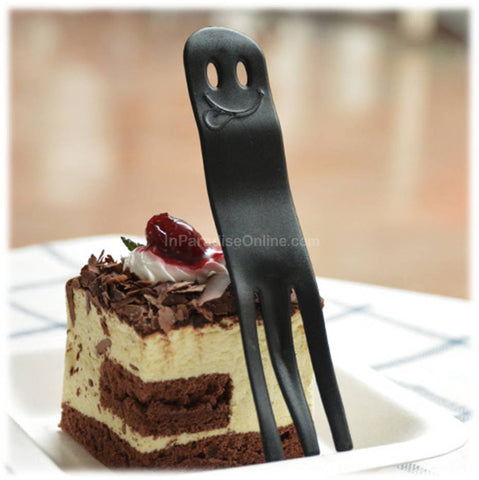 Mini Smile Face Plastic Forks  (3 Tines)