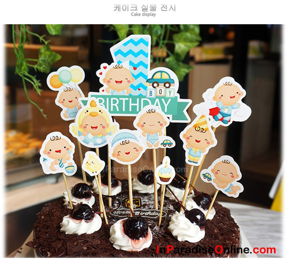 DIY Baby Boy 1st Birthday Cake Toppers InParadiseOnline