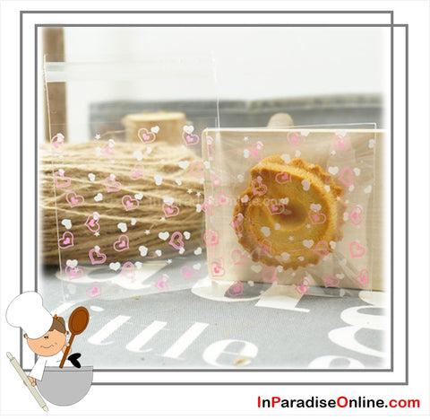 """Love"" Self Adhesive Cookies Plastic Bags"