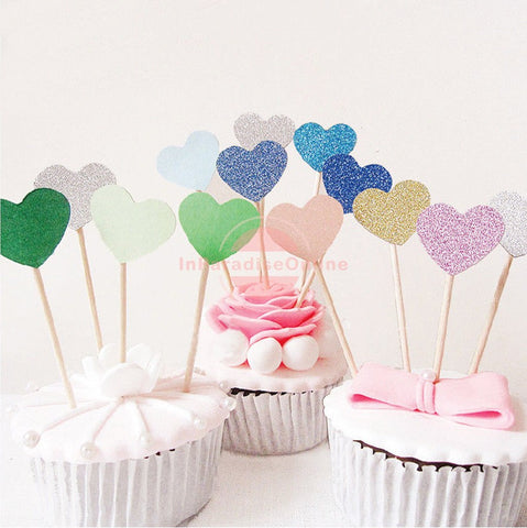"""Heart"" Glitter Cupcake Toppers (Multiple Colors - Light)"