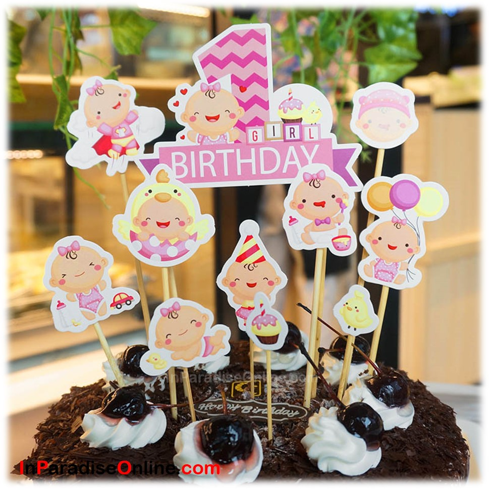 DIY Baby Girl 1st Birthday Cake Toppers