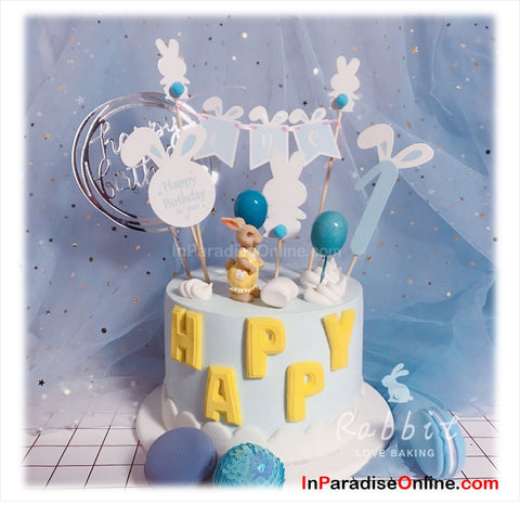 Baby Boy Bunny Bunting Cake Topper Set