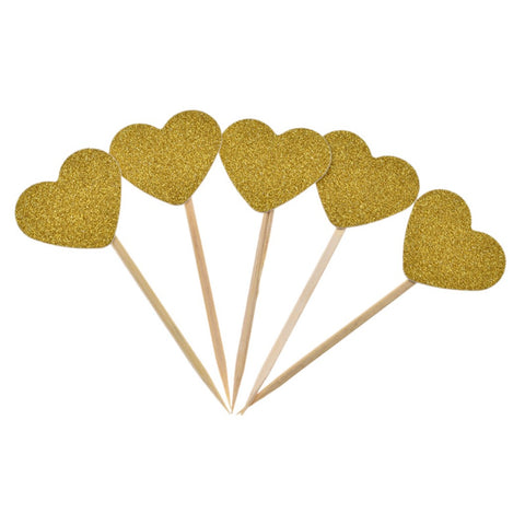 """Heart"" Glitter Cupcake Toppers"