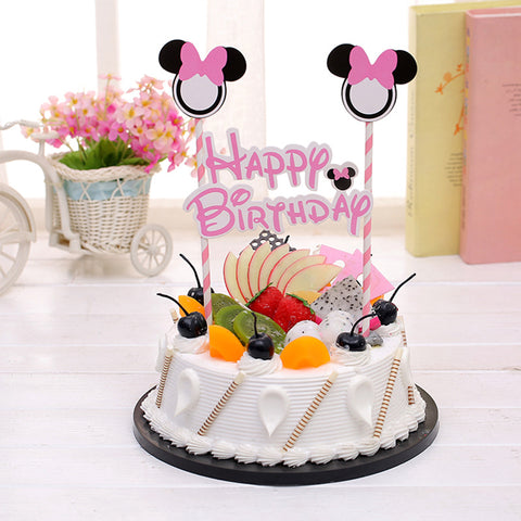 "Disney ""Minnie"" Pink Bunting Cake Topper"