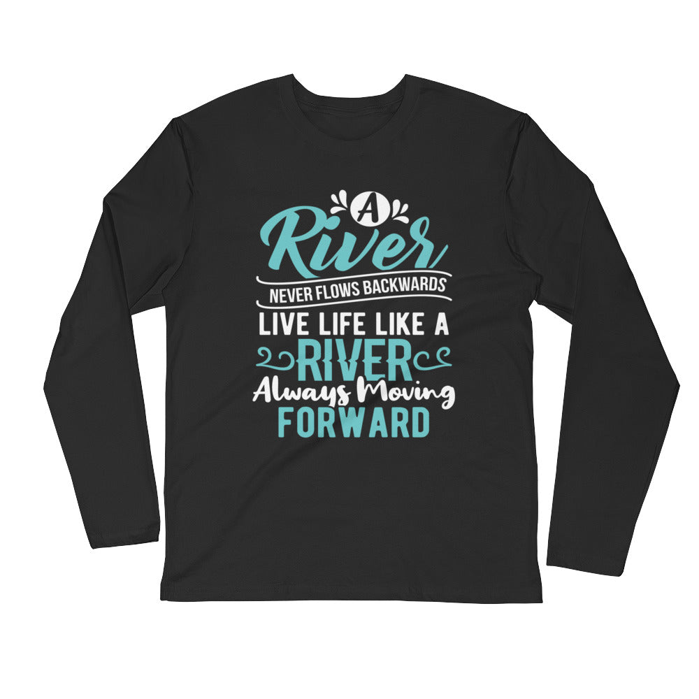 A River....Long Sleeve Fitted Crew