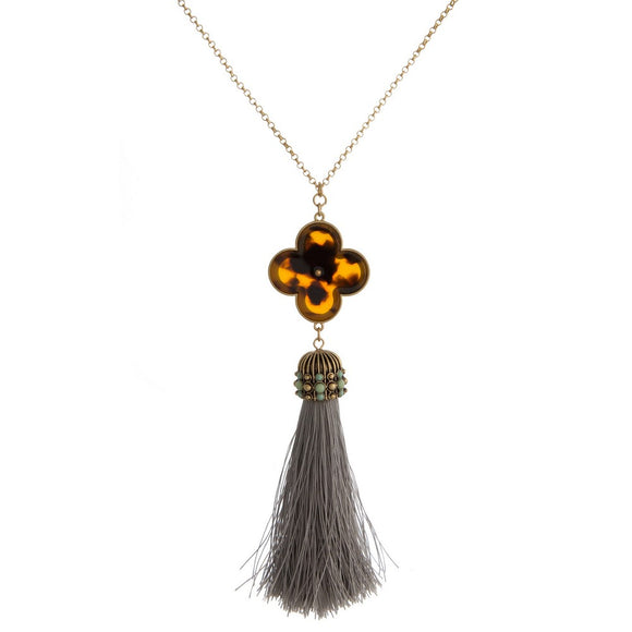 Tortoise Tassel Necklace in Gray