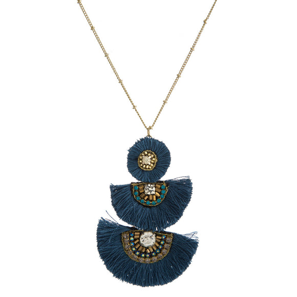 Blue Tassel Fan Necklace
