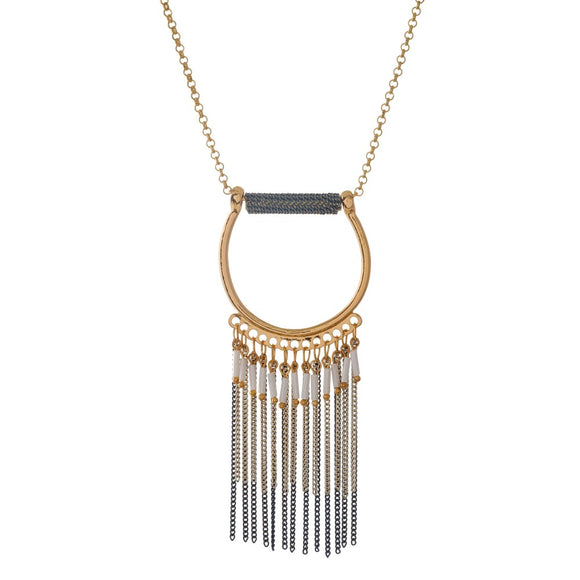 Long Circle Pendant Fringe Necklace
