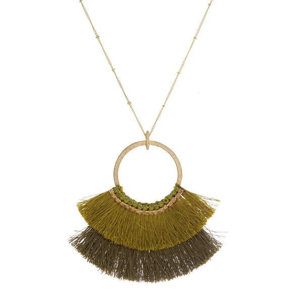 Ombre Green Tassel Necklace