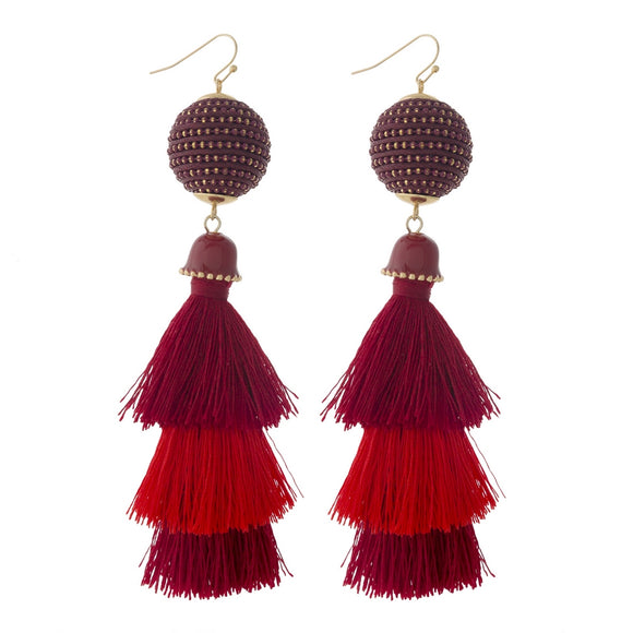 Red Stacked Tassel Earrings