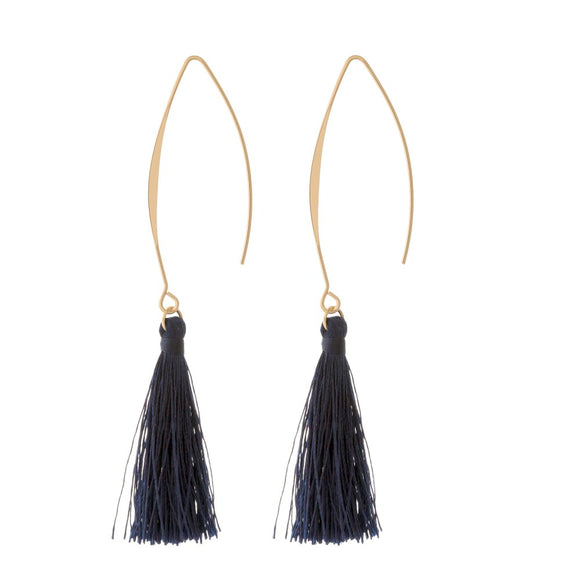 Tassel Hook Earrings in Navy