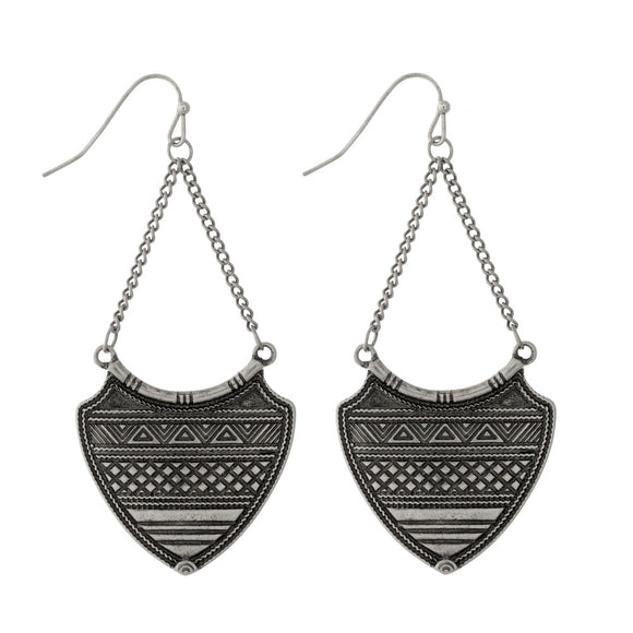 Aztec Silver Boho Earrings