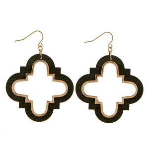 Wooden Clover Earrings in Olive & Gold
