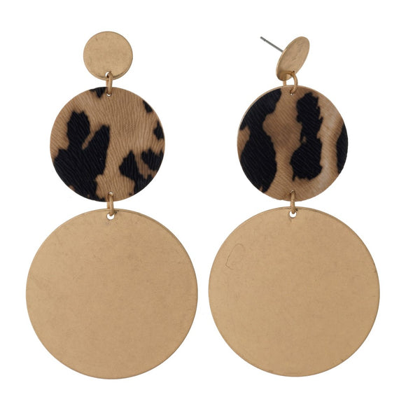 Animal Print & Gold Circle Earrings