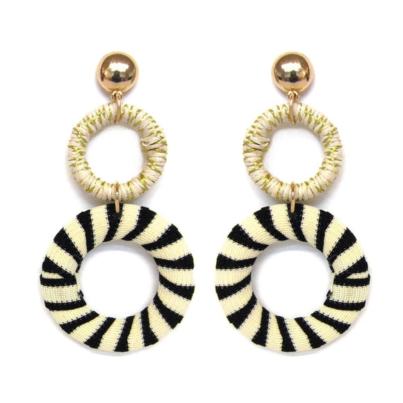 Straw & Fabric Drop Earrings in Black