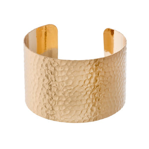 Hammered Metal Cuff Bracelet in Gold